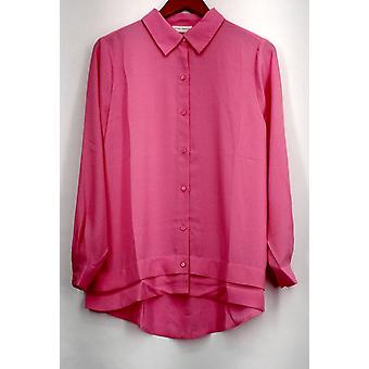 Susan graver top Feather Weave lange mouw knop front Fresh Pink A273451