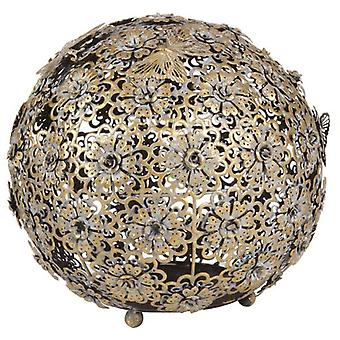 Wellindal Aged Gold Flower And Butterfly Ball (Decoration , Figures and statues)
