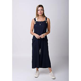 Saffy ladies lightweight loose fit linen dungarees navy