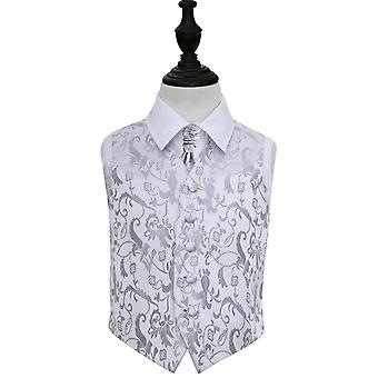 Boy's Silver Passion Floral Patterned Wedding Waistcoat & Cravat Set