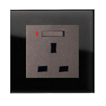 I LumoS AS Luxury Black Crystal Glass  Single Switched with Neon  Wall Plug 13A UK Sockets