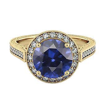 Blu zaffiro 2.10 ctw anello con diamanti 14k Yellow Gold Halo filigrana con accenti