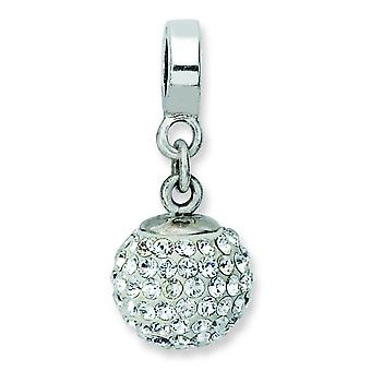 Argent sterling poli réflexions April Crystal Ball Dangle Bead Charm