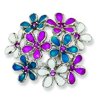 Sterling Silver Enameled CZ Flowers Ring - Ring Size: 6 to 8