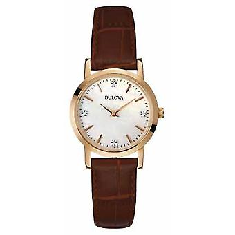 Bulova Ladies Gold Brown Leather Strap 97S105 Watch