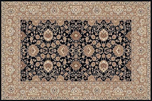 Kamira Midnight 4472-799 Black with gold border Rectangle Rugs Traditional Rugs