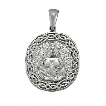 Silvertone Primal Mother and Child Amulet
