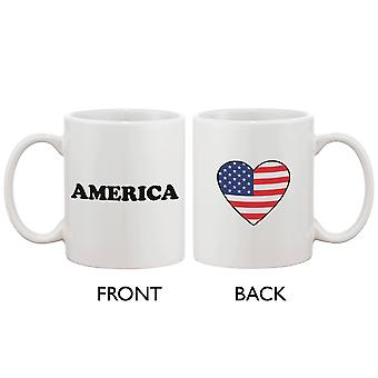 American Flag Design Ceramic Coffee Mug Bold Statement - American Flag Heart