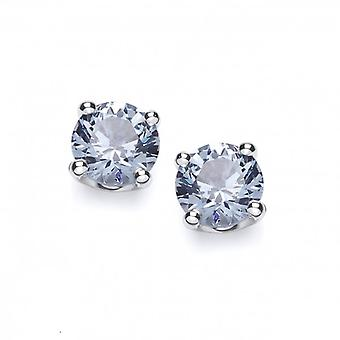 Cavendish French Sterling Silver Simple Aqua Cubic Zirconia Solitaire Stud Earrings