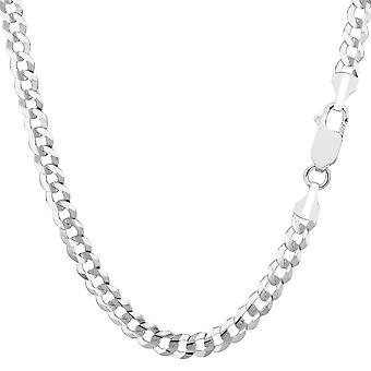 14k White Gold Comfort Curb Chain Bracelet, 4.7mm, 8