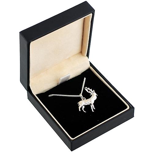 Silver 23x25mm solid Stag Pendant with a curb Chain 18 inches