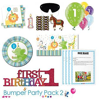 Sweet at 1 Boy 1st Birthday Party Tableware Bumper Pack 2