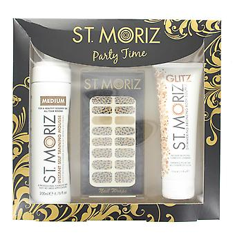 St Moriz Party Time Set With Medium Tanning Mousse, Body Souflee & Nail Wraps