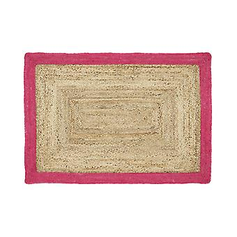 Origins Jute Jute Border Pink  Rectangle Rugs Plain/Nearly Plain Rugs