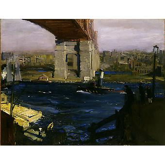 George Bellows - Blackwell brug Poster Print Giclee