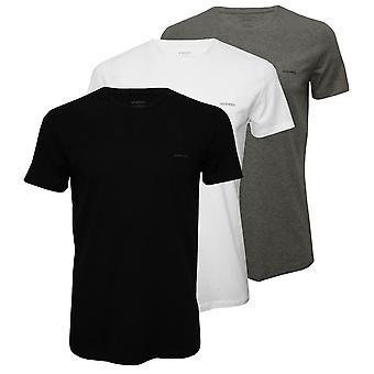 Diesel 3er-Pack wesentliche Rundhals T-Shirts, schwarz/weiß/grau