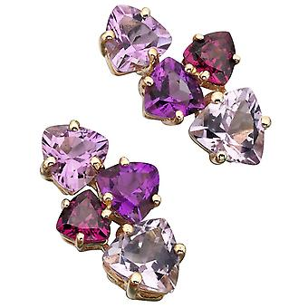 9 ct Gold With Rose France, Amethyst And Garnet Earring Brazilian