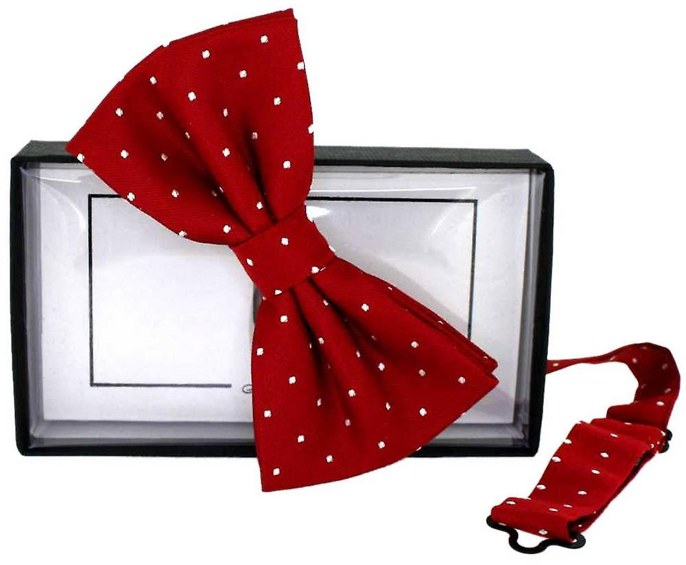 David Van Hagen Mini Polka Dot Silk Bow Tie - Red/White