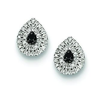 Sterling Silver Black and White Diamond Post Earrings - .25 dwt
