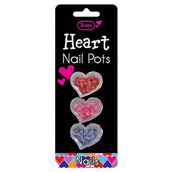 Pretty Heart Nail Pots- Red, Pink & Blue