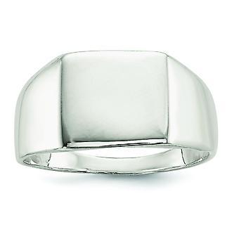Sterlingsølv poleret Engravable lukket tilbage 11x13mm Solid tilbage signetring - ringstørrelse: 9-11