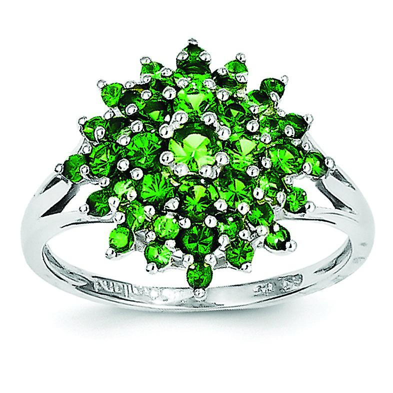 Sterling argent Polished Open back Tsavorite Ring - Ring Taille  6 to 9