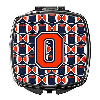 Letter O Football Orange, Blue and white Compact Mirror
