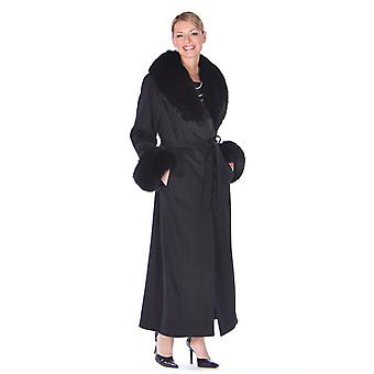 Womens Full Length Cashmere Coat with Fox Fur Trim Black