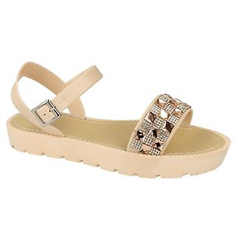 Ladies Womens Summer Evening Retro Jelly Ankle Strap Sandals Shoes