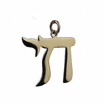 9ct Złota 27x25mm hebrajski Chai słowo życia wisiorek lub urok