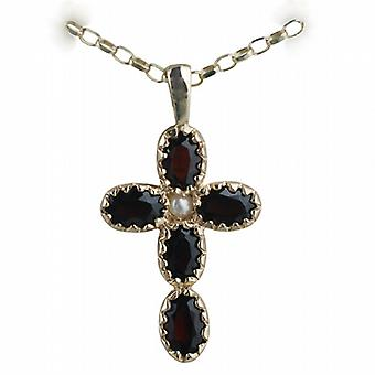9ct Gold 25x16mm Cross set with 5 Garnets and 1 Pearl on a belcher Chain 16 inches Only Suitable for Children