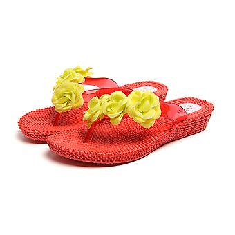 Atlantis Shoes Women Supportive Cushioned Comfortable Sandals Flip Flops Three Flowers Red-yellow
