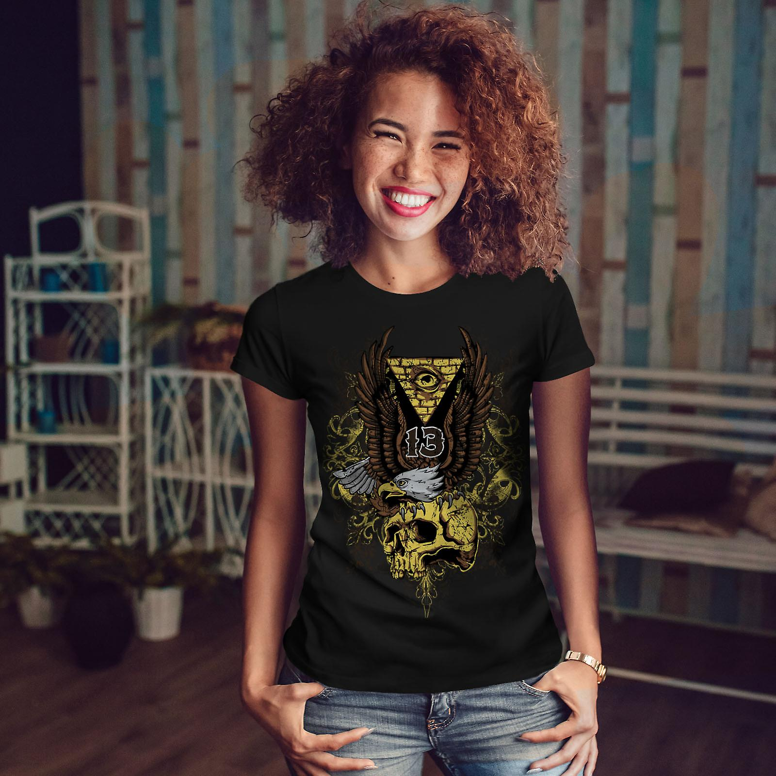 Illuminati Eagle Skull Women BlackT-shirt | Wellcoda