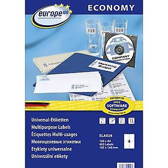 Europe 100 ELA024 Labels (A4) 105 x 148.5 mm Paper White 400 pc(s) Permanent All-purpose labels Inkjet, Laser, Copier