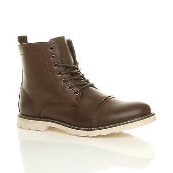 Mens Ajvani rendas até contraste de borracha exclusiva inteligente trabalho casual militar tornozelo botas