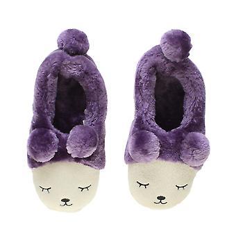 Ajvani piel de invierno para mujer forradas pom pom novedad oso animal cara zapatillas Casa los zapatos