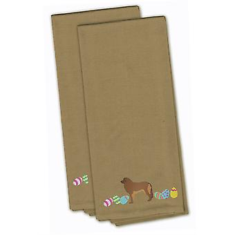 Leonberger Easter Tan Embroidered Kitchen Towel Set of 2