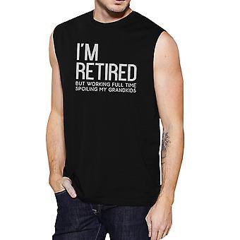 Retired Grandkids Mens Black Cute Muscle T-Shirt For Grandparents