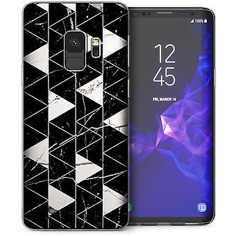 Samsung Galaxy S9 marmeren geometrische driehoeken TPU Gel Case - zwart