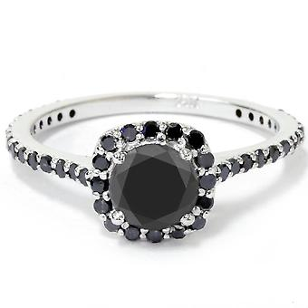 1 1/4ct Cushion Halo Black Diamond Engagement Ring 14K White Gold