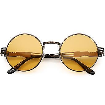 Übergroße Runde Sonnenbrille graviert Metallarm Ausschnitt Farbe getönt Linse 53mm