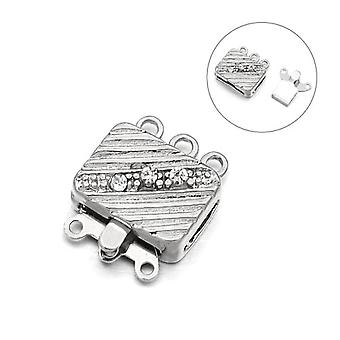 Packet 2 x Platinum Metal Alloy Rectangle Box Clasps 12 x 15mm Y03165