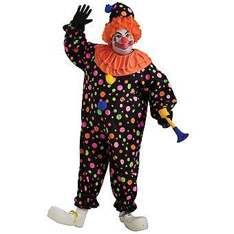 Clown Deluxe Circus czarna kropkowana wypryskami mężczyzn zabawny kostium Plus
