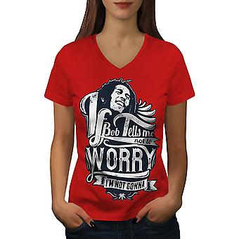 No Worries Bob Women RedV-Neck T-shirt | Wellcoda