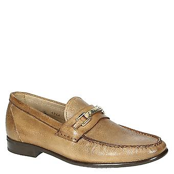 Handmade wood color full grain leather men's loafers