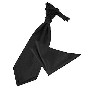 Zwarte Swirl bruiloft Cravat & zak plein Set