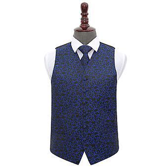 Colete de casamento preto & azul do redemoinho & conjunto de gravata
