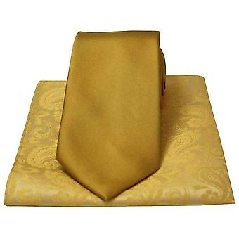 David Van Hagen Plain Satin Tie and Paisley Handkerchief Set - Gold