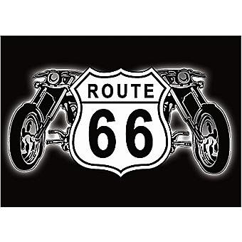 Route 66 Shield & Motorbikes Steel Fridge Magnet