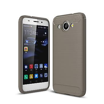 Huawei Y3 2017 TPU case carbon fiber optics brushed protection cover grey